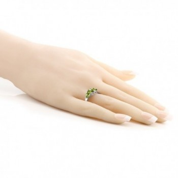 3 Stone Round Peridot Sterling Silver in Women's Statement Rings