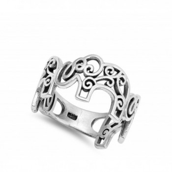 Filigree Oxidized Elephant Sterling Silver