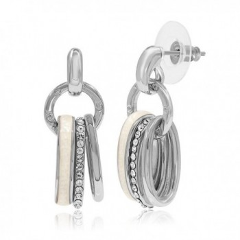 Kemstone Crystal Shell Inlaid Dangle Earrings Women Street Snap Jewelry - White - CO12NFDFE7E
