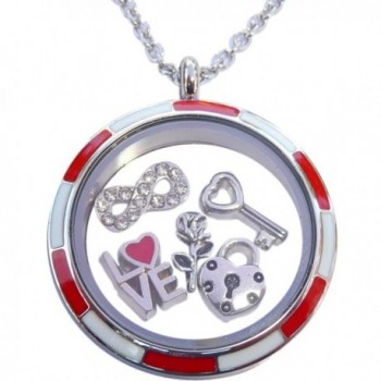 Valentines Set with Stainless Steel Locket and 5 Charms Plus Necklace - CM11T12E6DR