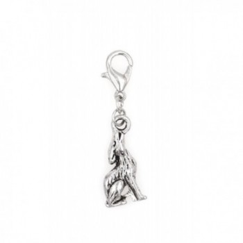 Stainless Steel Lobster Clasp with Alloy Howling Wolf Clip On Charm (Howling Wolf) SSCL 81N - CN12KBLY2XP
