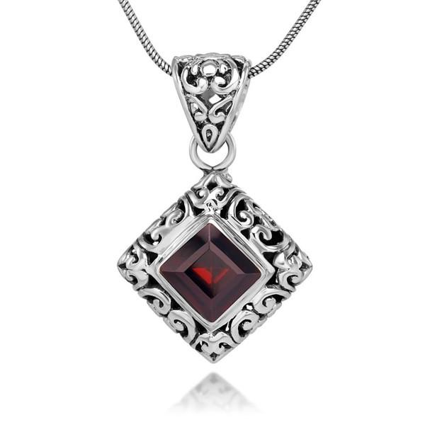 "Sterling Silver Filigree Gemstone Square Pendant Necklace w/ 18"" Silver Chain - Garnet - CT123CLVKS1"