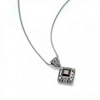 Sterling Filigree Gemstone Pendant Necklace