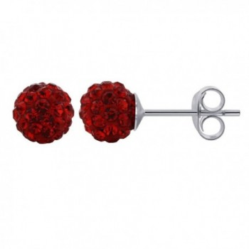 Gem Avenue 925 Sterling Silver 6mm Round Bright Red Crystal Ball Post Back Stud Earrings - CY11B2Q1BJH