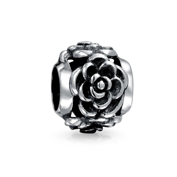Bling Jewelry 3D Rose Flower Oxidized Bead Charm .925 Sterling Silver - CB1153V56Y3