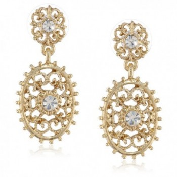 """Downton Abbey """"Gilded Age Carded"""" Gold-Tone Crystal Filigree Beaded Edge Drop Earrings - CV11FP3XWWH"""