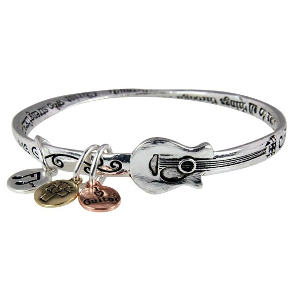 4031135 Philippians 4:13 Christian Twisted Solid Bangle Stackable Guitar Music Bracelet Jewelry - CO11F1ONDH9