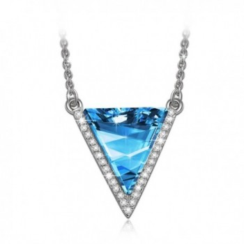"LadyColour ""Triangle"" Blue / Gold Pendant Necklace Made With Swarovski Crystals - CL12CEH3E8N"