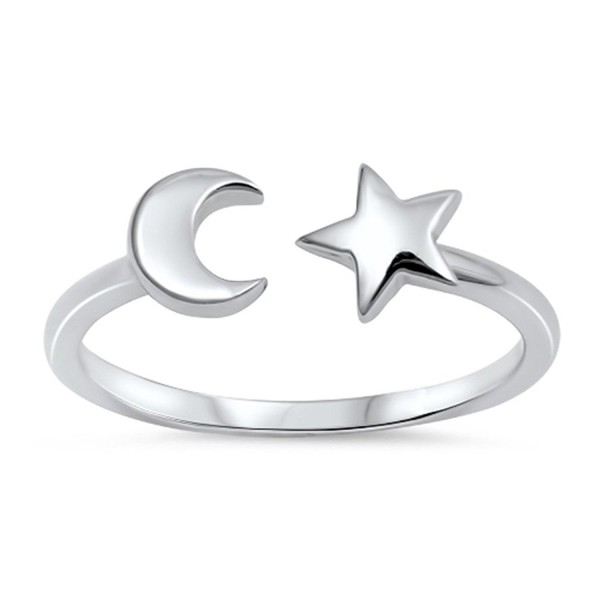 Open Moon Star Adjustable Universe Ring New .925 Sterling Silver Band Sizes 4-10 - CS183CXIZG9