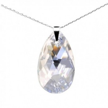 """Sterling Silver 925 Made with Swarovski Crystals Moonlight Pendant Necklace for Women- 18"""" - CX11P25UCIF"""