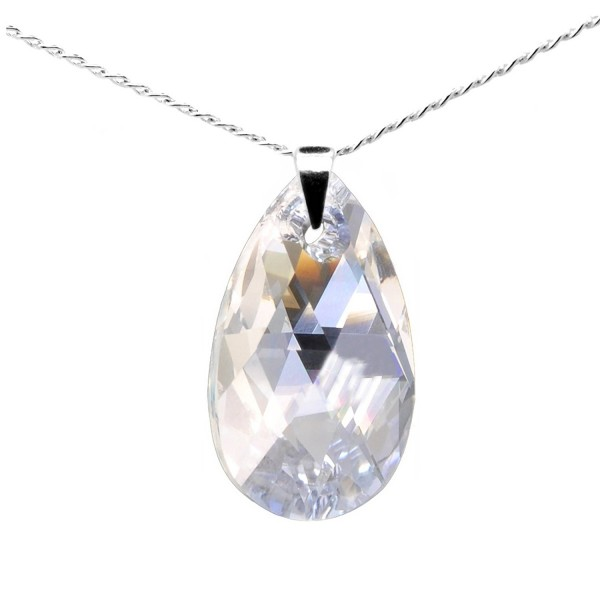 "Sterling Silver 925 Made with Swarovski Crystals Moonlight Pendant Necklace for Women- 18"" - CX11P25UCIF"