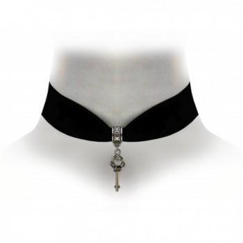 Victorian Vault Black Velvet Choker Steampunk Jewelry Gothic Key Pendant Necklace - CL17Z6WTWMZ