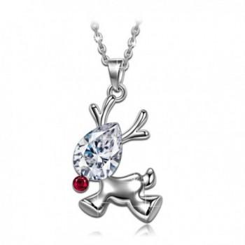 Valentines Reindeer Necklace Swarovski Granddaughter - CJ12O3J355M