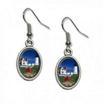 Graphics and More Nubble Lighthouse Maine - Rowboat Novelty Dangling Drop Oval Charm Earrings - CM12MJEXO5T