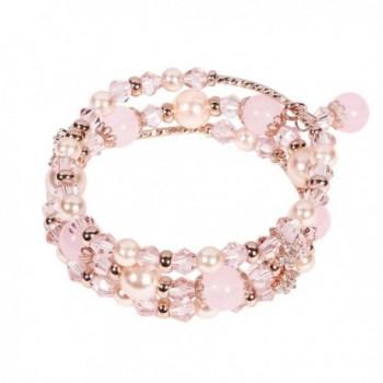 Tomazon Fashion Handmade Crystals Bracelet - 3 rows - pink - C7189TRRAOS