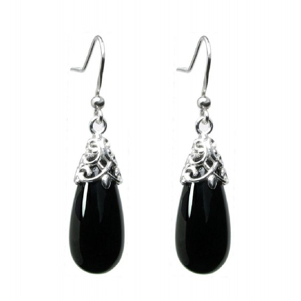 Sterling Silver Black Natural Onyx Teardrop Dangle Filigree Flower French Hook Earrings - CI11MUHF9EZ