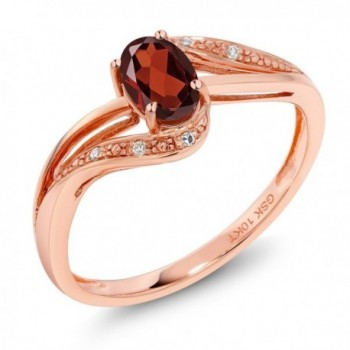 10K Rose Gold 0.54 Ct Red Garnet and Diamond Engagement Ring (Available in size 5- 6- 7- 8- 9) - CG186Y5D2D3