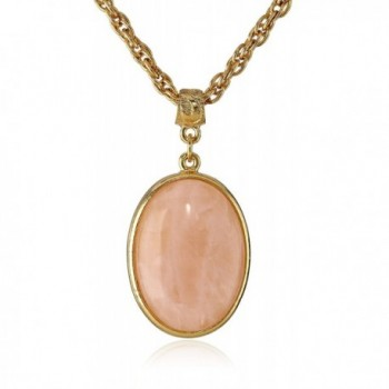 "1928 Jewelry ""Semi-Precious Collection"" 14k Gold Dipped Oval Pendant Necklace- 16"" - Gold/Pink - C811KBIG04X"