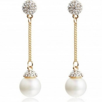 Modogirl Bohemia Simulated-pearl Long Round Statement Ear Clip earrings for Women - CF11ZJT1D6J