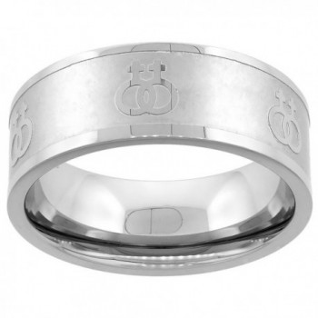 Stainless Steel Lesbian Symbols Ring 8mm Wedding Band- sizes 5 - 9 - CX1126ARMN1