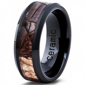 Ceramic Ring 8mm for Men Women Black Hunter Deer Army Ceramic Band Comfort Fit Camo Beveled Edge Brushed Polished - C112MZQCMGQ