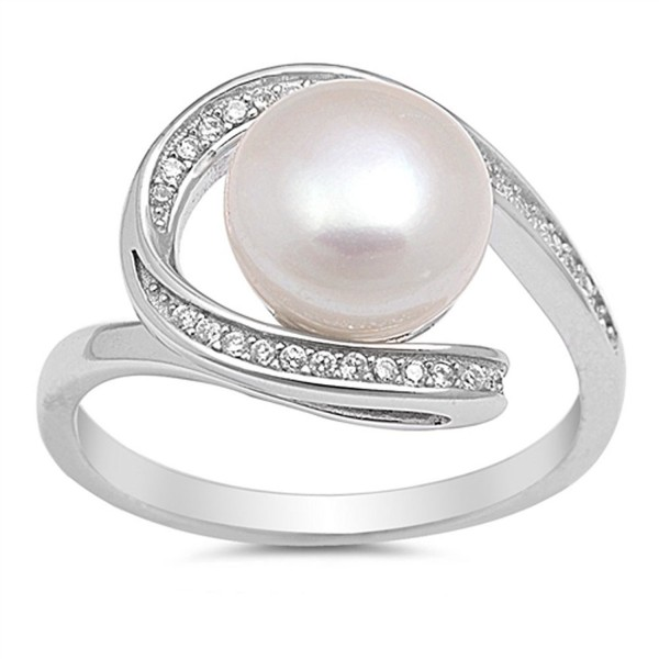 Clear CZ Simulated Pearl Swirl Ring New .925 Sterling Silver Band Sizes 5-10 - CB12GTVN4QH