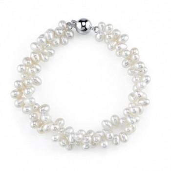 4mm Rice Shaped White Freshwater Cultured Pearl Bracelet - CF11MMK8M8Z