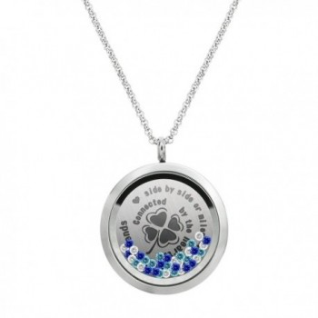 Friendship Forever Stainless Steel Locket Pendant Floating Charms Necklace - C217XWS774H