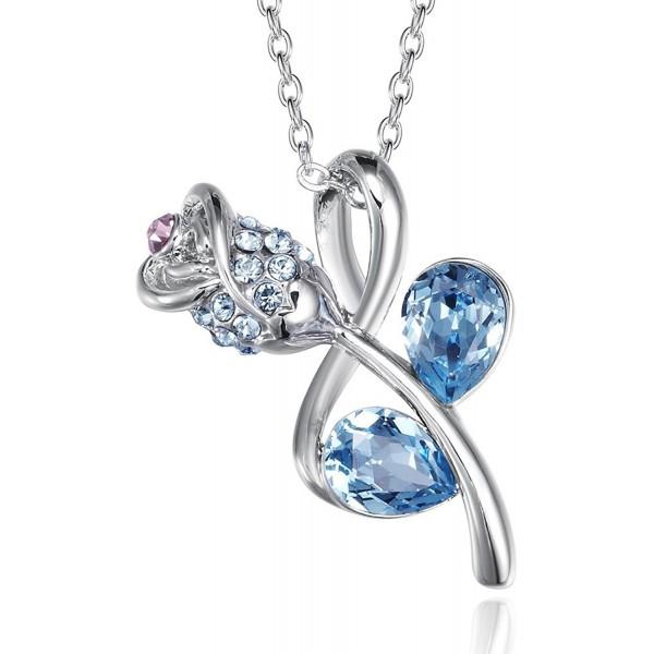 FAPPAC Teardrop Flower Pendant Necklace Enriched with Swarovski Crystals - C2127EV5AYJ