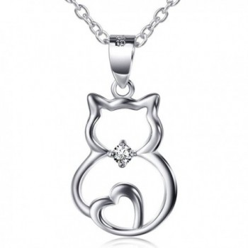 """S925 Sterling Silver Cute Cat Lover Gifts Animal Pendant Necklace- 18"""" - CN12O1O0KHV"""