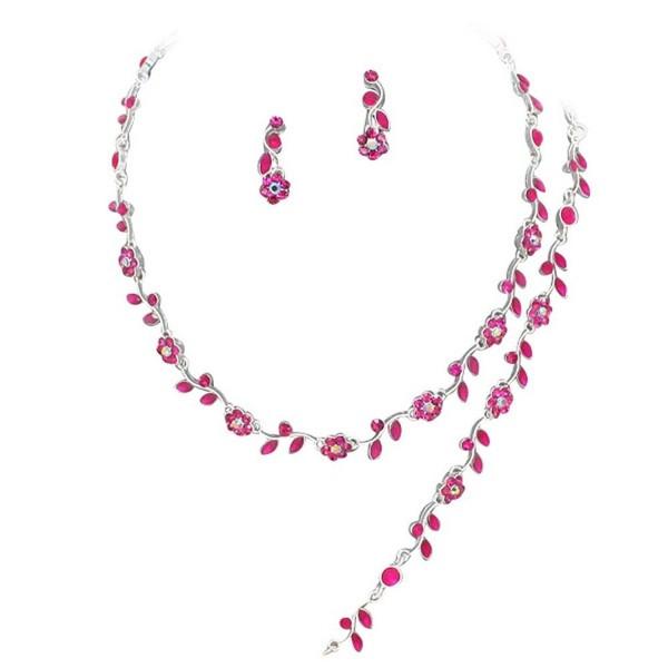 Affordable Fuchsia Pink Crystal Bridesmaid 3 Bridal Necklace- Earring- Bracelet Set H4 - CU11DKKWV0V