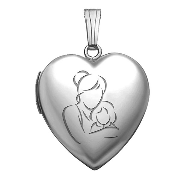 "Sterling Silver ""Mom and Daughter"" Heart Locket Pendant Necklace 3/4 Inch X 3/4 Inch - CY180OEIS94"