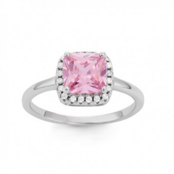 Sterling Silver Pink Square CZ Band Ring - CS1289INIYL