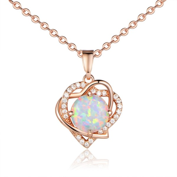 VOLUKA Rose Gold Plated 8mm Round Synthenic Opal Heart Shape CZ Halo Pendants Necklace for Women and Girls - CG188O70USW