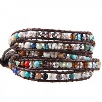 KELITCH Colorful Crystal Agate Created-Turquoise Semi-precious Stones Boho Leather Bracelet- 5 Wraps - C812G9SLQXN