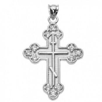925 Sterling Silver CZ Eastern Orthodox Cross Pendant - CB120RSGQBX