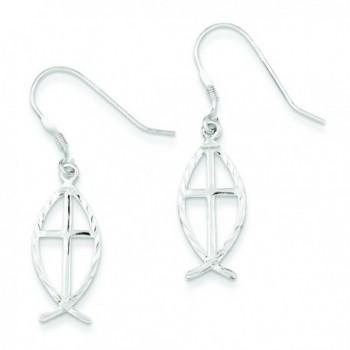 Sterling Silver Diamond Cut Cross W/Fish Earrings - CC11573861R