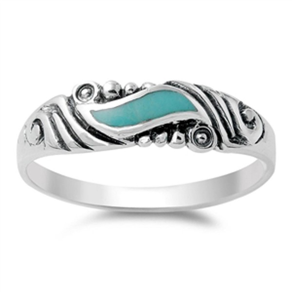 Sterling Silver Swirl Ring - Simulated Turquoise - C711Y23JMO3