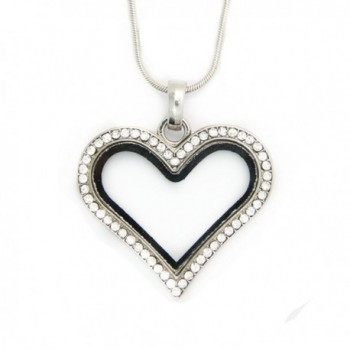 JoJo&Lin Memory Crystal Heart Magnetic Floating Charm Locket with Snake Chain DIY Jewelry Accessory - CJ11L8ACCXZ