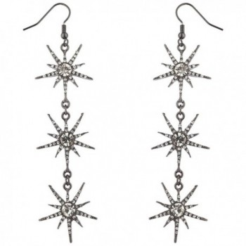Lux Accessories Hematite Crystal Rhinestone Three Tier Starburst Dangle Earrings - C017YE7GLZR