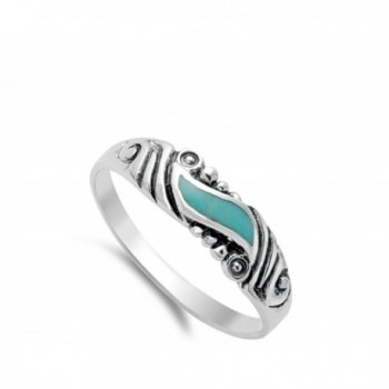 Simulated Turquoise Sterling Silver RNG14153 6 in Women's Band Rings