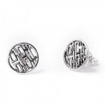 81stgeneration Women's .925 Sterling Silver Double Happiness Joy Feng Shui Chinese Studs Earrings - C5110JP8YID