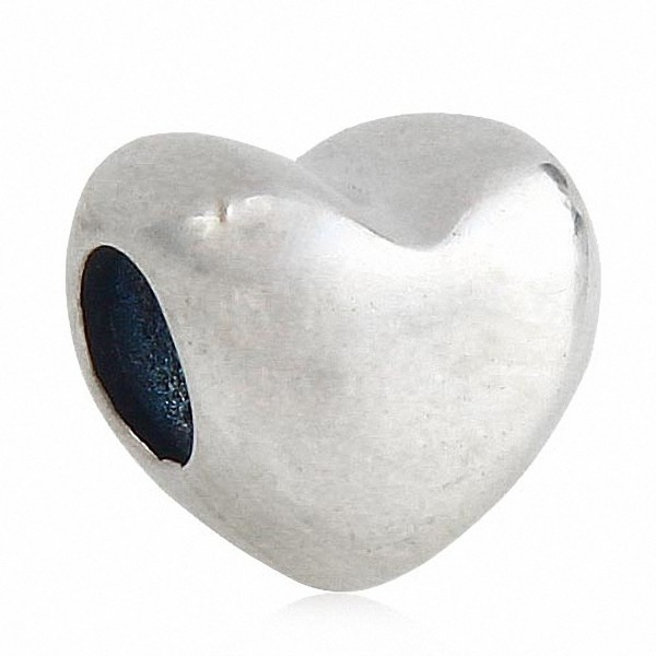 Love Heart Charm Solid 925 Sterling Silver Charm for Charms Bracelets - C5182Z5IGRE