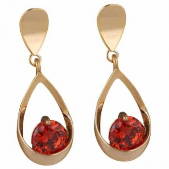YAZILIND Elegant 18k Gold Filled Inlay Round Red Cubic Zirconia Waterdrop Design Dangle Drop Earrings - CY11MGQZKH1