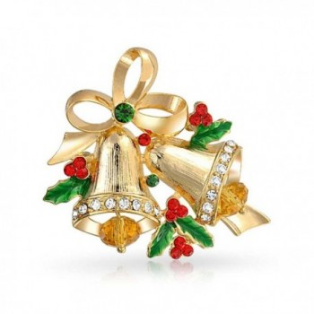 Bling Jewelry Christmas Bells Bow Ribbon Brooch Pin Crystal Gold Plated - CK11HNUPJ99
