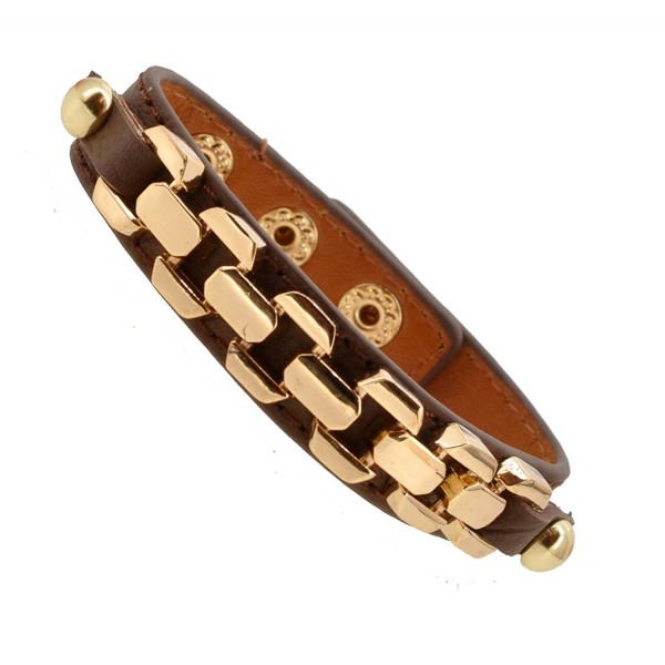 Womens Fashion Buckle Chain Link Strap Leather Bracelet - CF11KRREPSB