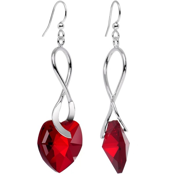 Body Candy Handcrafted Silver Plated Deep Red Accent Heart Earrings Created with Swarovski Crystals - CC12KW7O7QZ