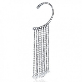 Bling Jewelry Stainless Steel 316L Fake Cartilage Clear CZ Crystal Left Ear Wrap - C511IVDY95H