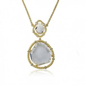 "Riccova ""Sliced Glass"" 14k Gold-Plated Clear Sliced Glass Double Drop Pendant Chain Necklace - CL11R5SQX5X"