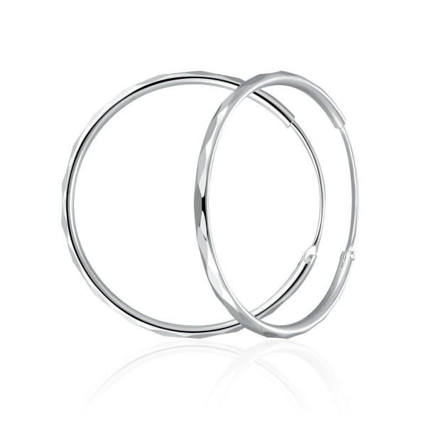 """MBLife 925 Sterling Silver Diamond-Cut Medium Hoop Round Earrings (Diameter 1.5"""") - CN11TXCFJ7R"""